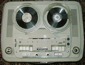 A Grundig TK46 Reel-to-reel tape recorder purchased by Loren's father in the 1960's and used for Loren's earliest experimental and demo recordings.